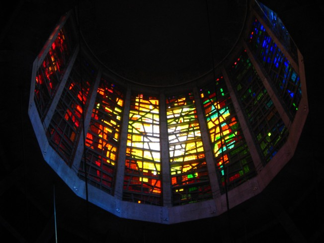 Glass windows in the celiling of the cathedral.