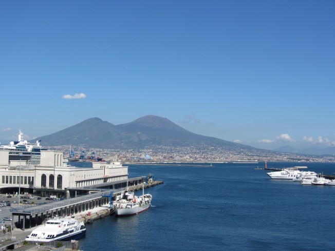 Mount Vesuvius from Castel Nuovo, Naples