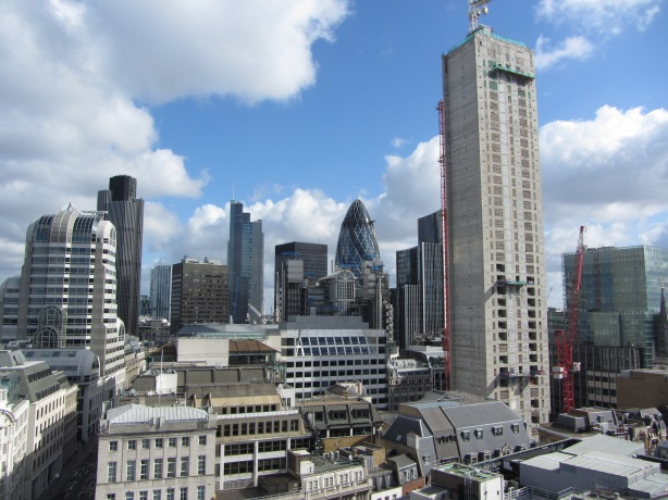 London business district skyline from The Monument